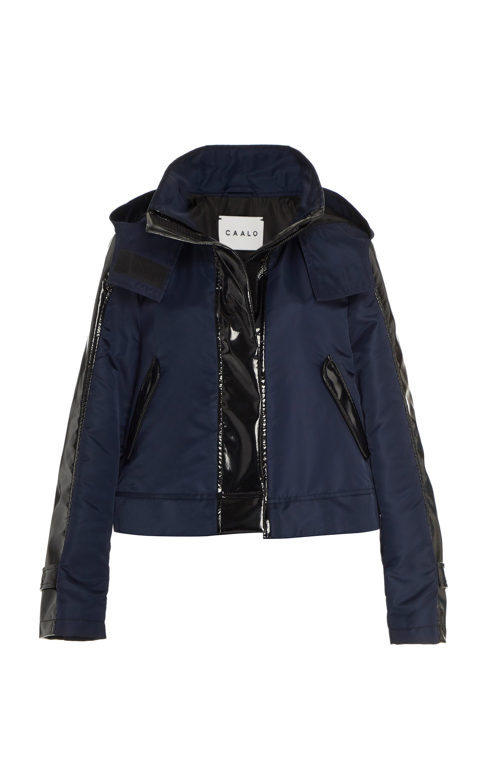 CAALO Glossed Cropped Hooded Raincoat
