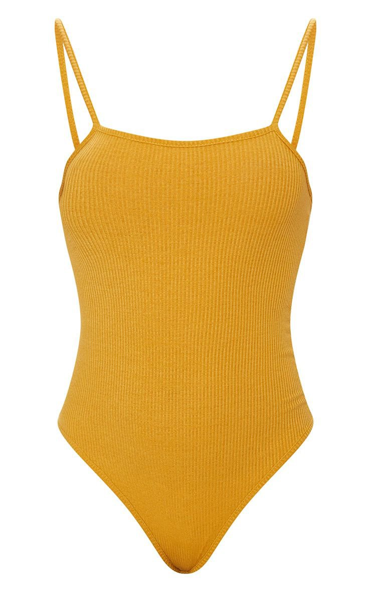 Mustard Ribbed Square Neck Thong Bodysuit   PrettyLittleThing