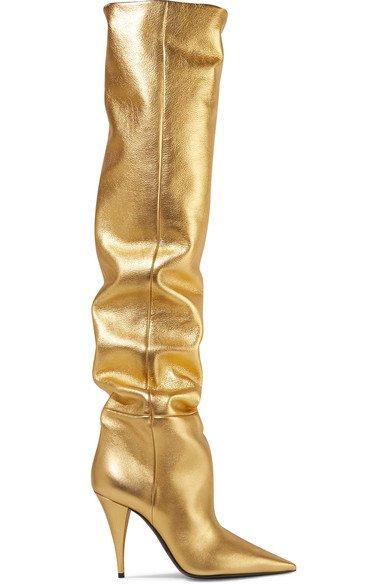 SAINT LAURENT | Kiki metallic leather over-the-knee boots | NET-A-PORTER.COM