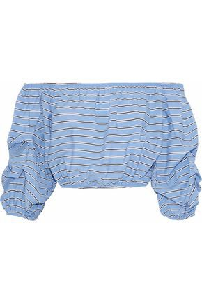 Magnolia off-the-shoulder striped poplin top | ALICE + OLIVIA | Sale up to 70% off | THE OUTNET