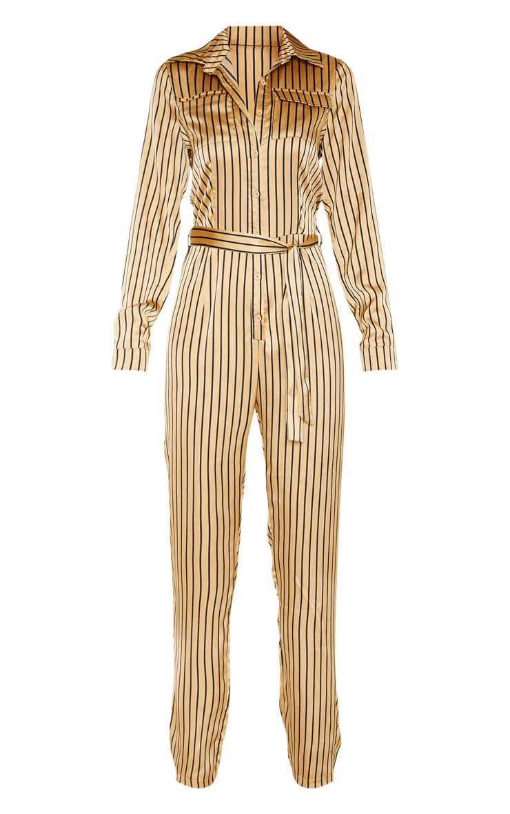 Tall Cream Stripe Pocket Long Sleeve Jumpsuit | PrettyLittleThing
