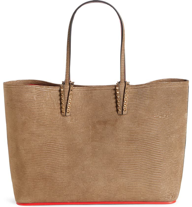 Christian Louboutin Cabata Lizard Embossed Leather Tote | Nordstrom
