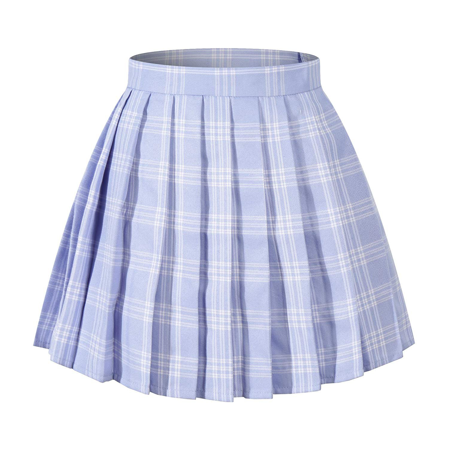 High Waisted Pleated Skirt - Blue Mixed White