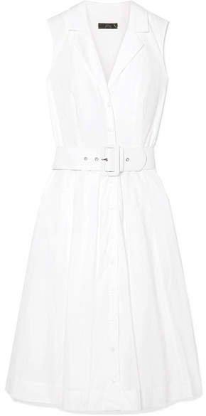 Rudbeckia Belted Cotton-poplin Dress - White