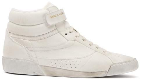 Lenny High Top Leather Trainers - Womens - White