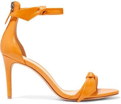 Clarita Bow-embellished Glossed-leather Sandals - Orange