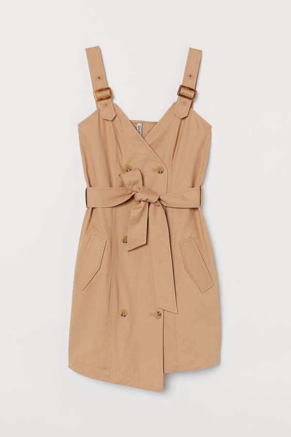 Cotton Bib Overall Dress - Beige