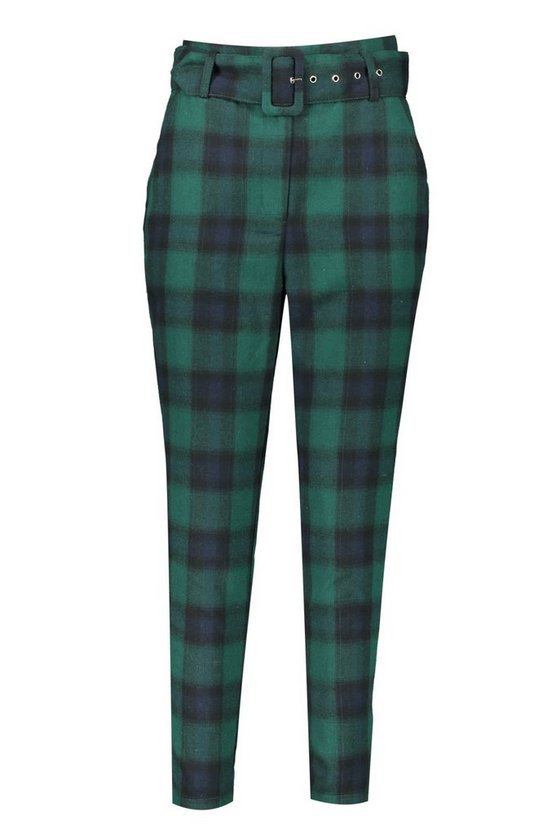 Heritage Check Belted Highwaist Peg Pants | Boohoo