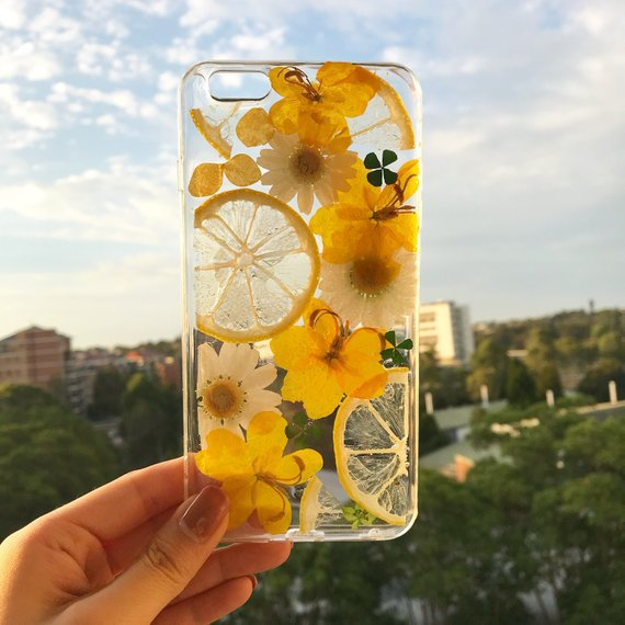 Handmade phone case/ pressed flower phone case/ pressed fruit | Etsy