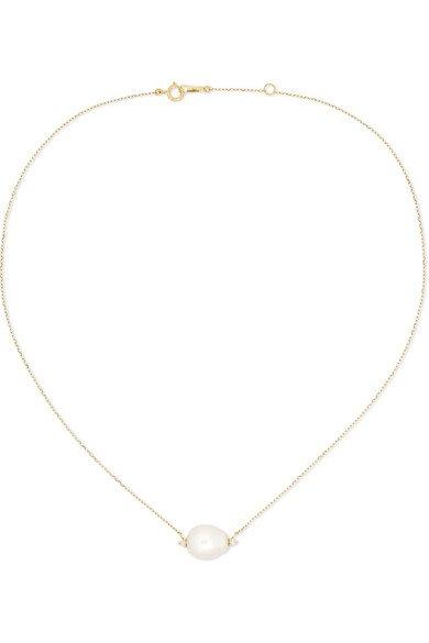 Mizuki | 14-karat gold, pearl and diamond necklace | NET-A-PORTER.COM