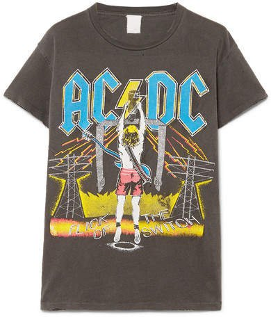 MadeWorn - Ac/dc Distressed Printed Cotton-jersey T-shirt - Anthracite