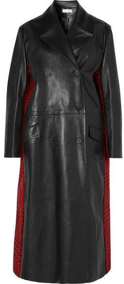 Double-breasted Leather And Houndstooth Wool Coat - Black
