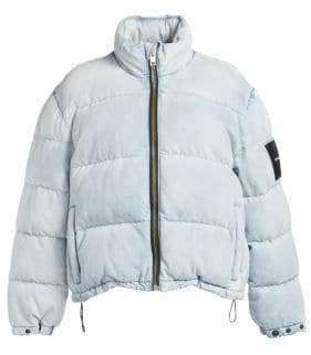 Women's Denim Puffer Jacket - Bleach - Size Medium