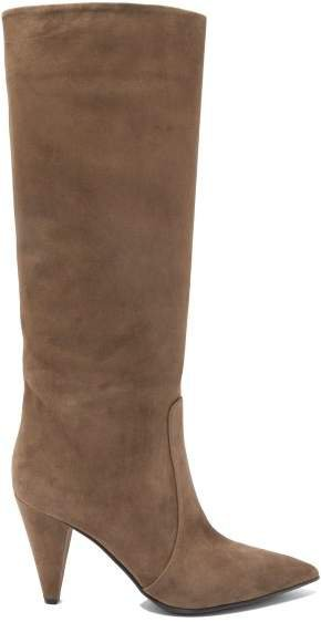 Cone Heel 85 Suede Knee High Boots - Womens - Brown