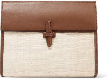 Leather And Raffia Clutch - Brown