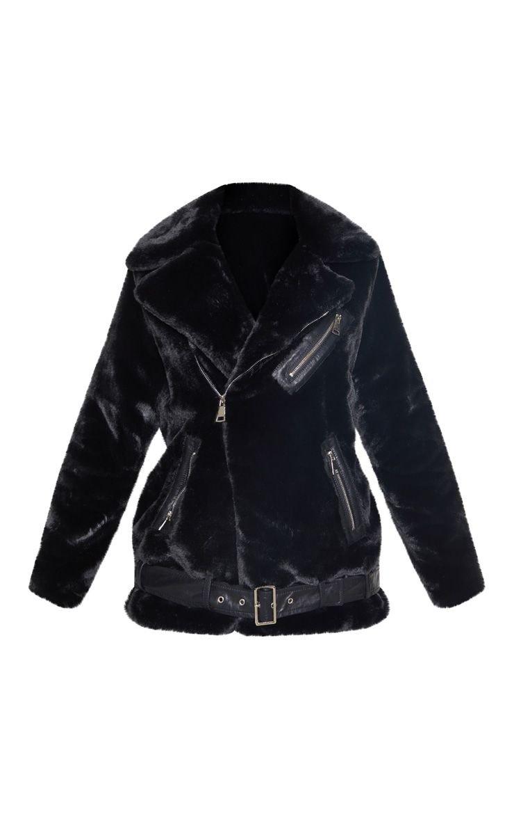 Black Faux Fur Biker Jacket | PrettyLittleThing USA