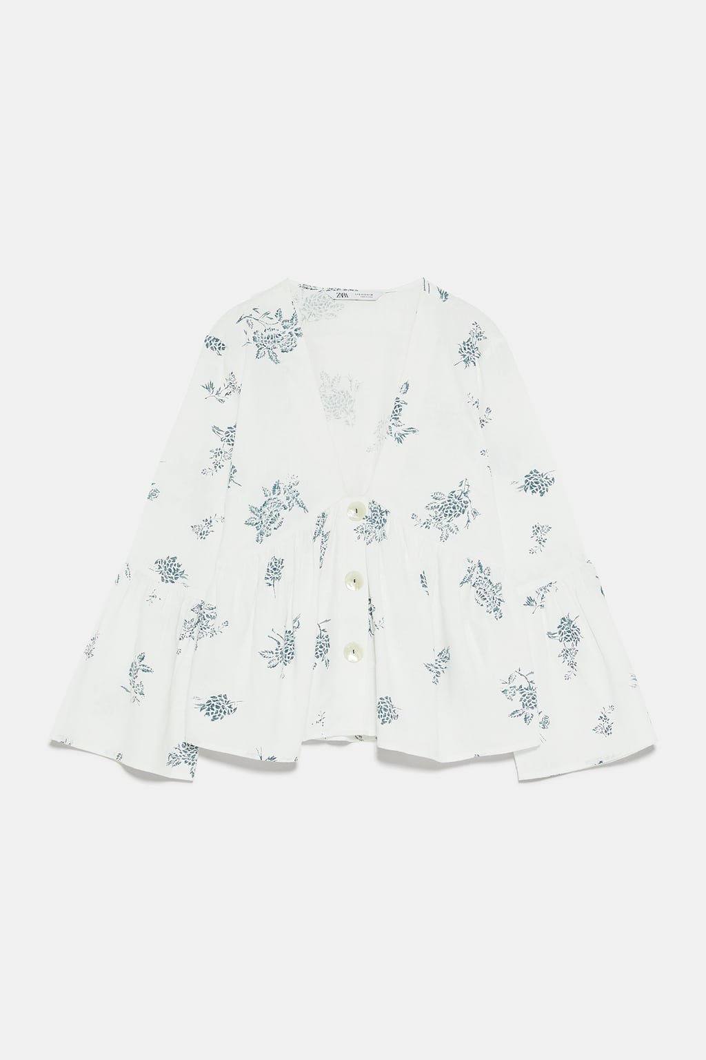 PRINTED BLOUSE WITH BUTTONS - View All-SHIRTS   BLOUSES-WOMAN   ZARA United States white