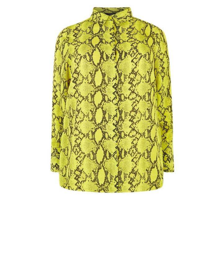 Curves Yellow Neon Snake Print Skirt   New Look
