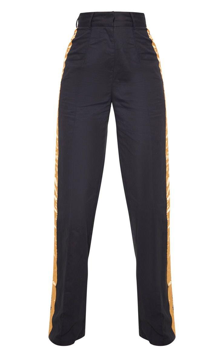Black Contrast Side Ribbon Wide Leg Trousers | PrettyLittleThing