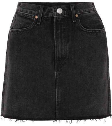Moss Frayed Denim Mini Skirt - Black