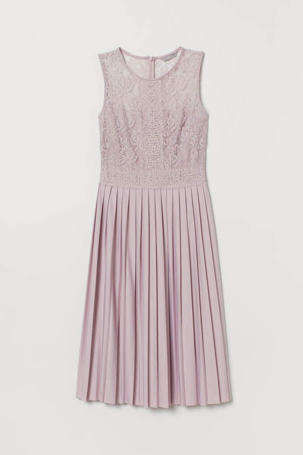Pleated Lace Dress - Pink