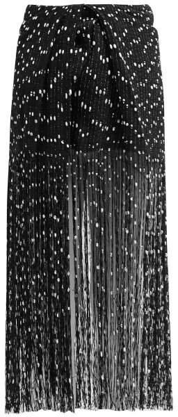 Capri Embroidered Fringe Skirt - Womens - Black