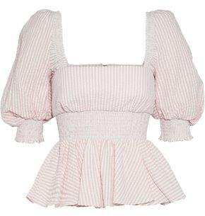 Shirred Striped Cotton-poplin Top