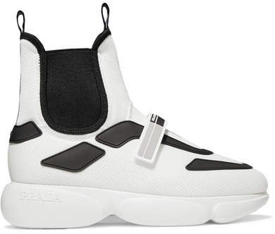 Cloudbust Logo-embossed Rubber, Neoprene And Leather-trimmed Mesh High-top Sneakers - White