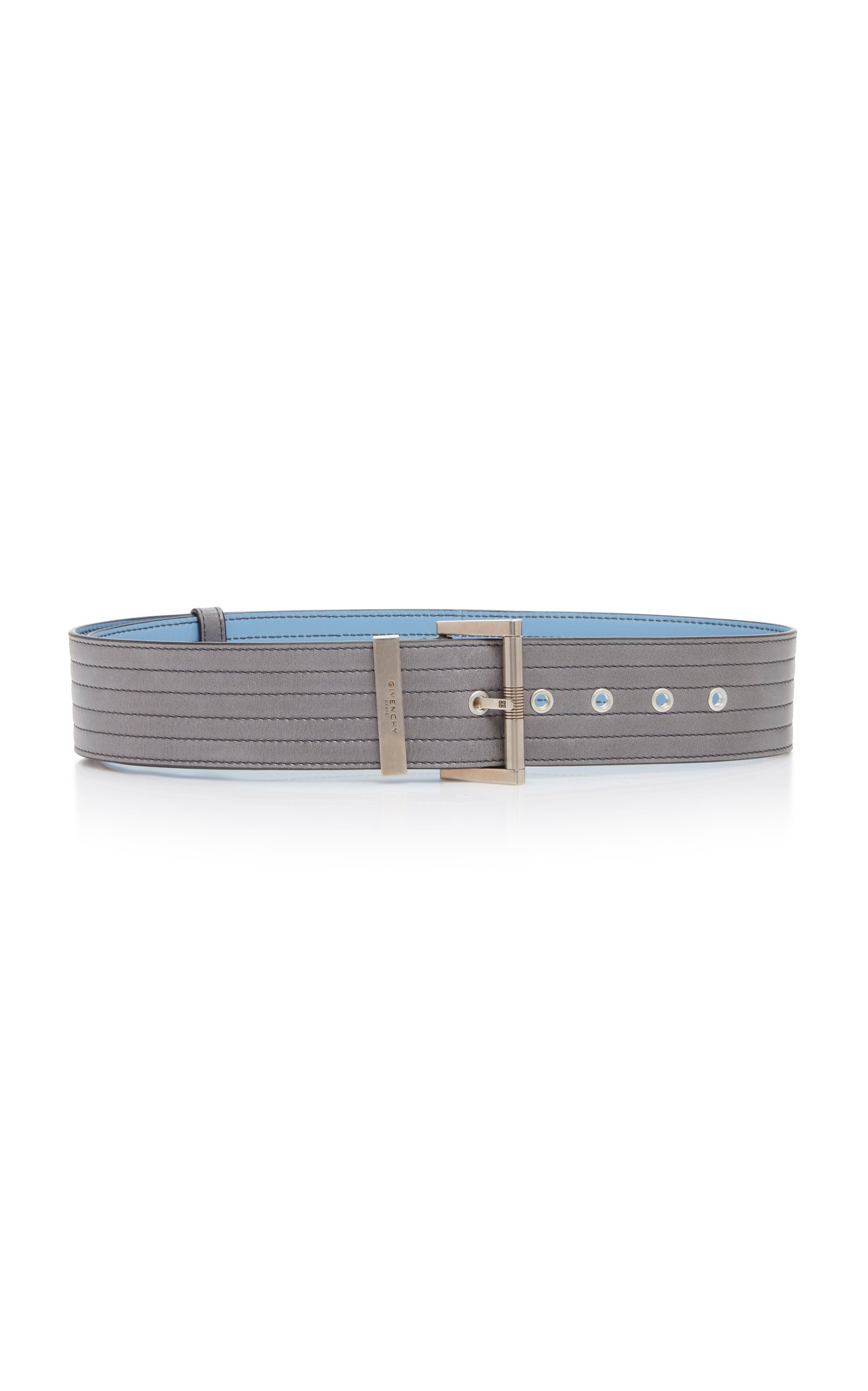 Givenchy Silver-Tone Textured-Leather Belt