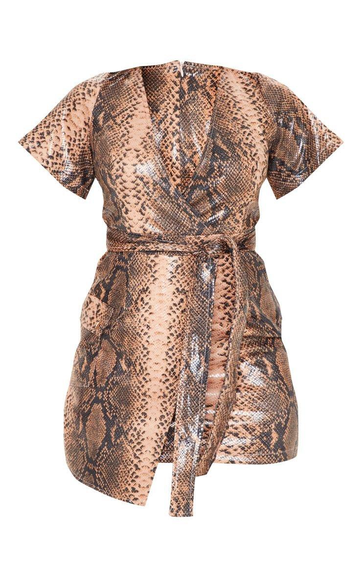 Nude Pu Snake Print Wrap Bodycon Dress | PrettyLittleThing USA