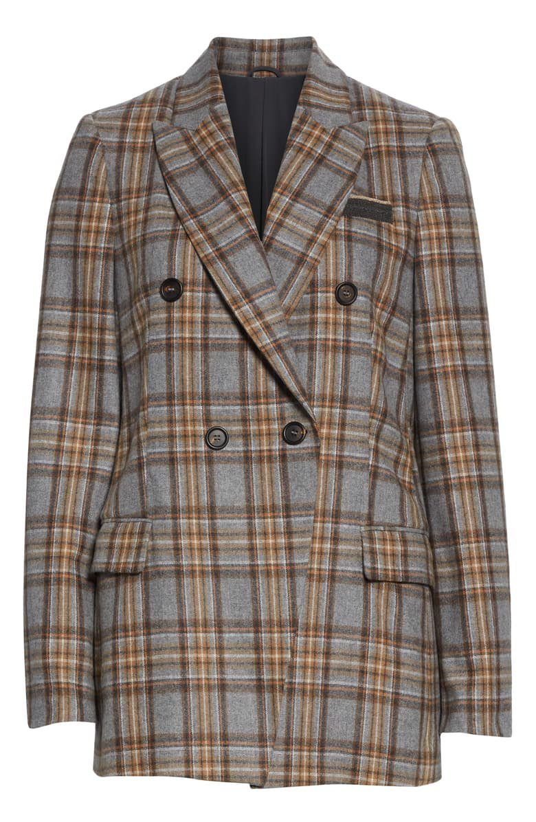 Brunello Cucinelli Double Breasted Check Flannel Blazer | Nordstrom