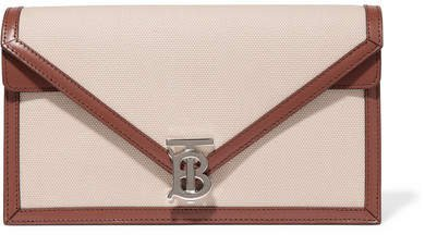 Leather-trimmed Canvas Clutch - Beige