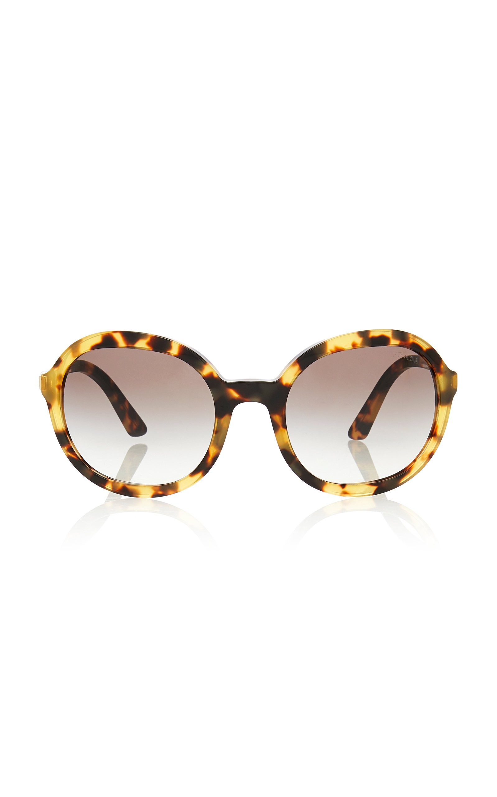 Prada Round-Frame Tortoiseshell Acetate Sunglasses