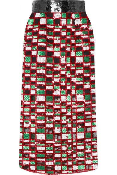 Christopher Kane | Checked sequined tulle midi skirt | NET-A-PORTER.COM