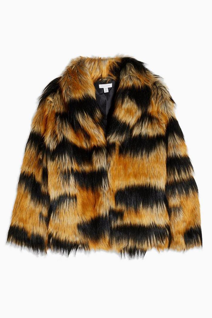 Tiger Faux Fur Coat   Topshop brown