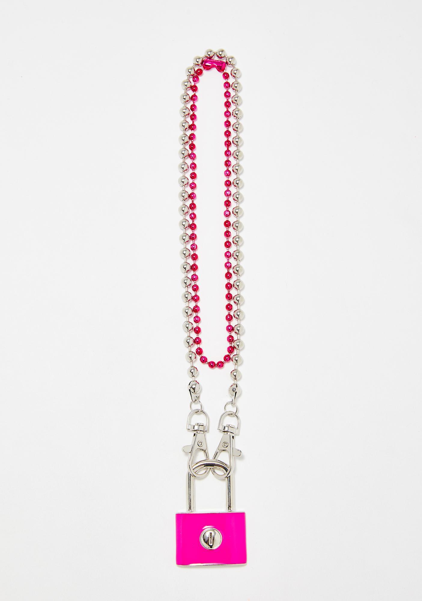 Ball Chain Layered Lock Necklace | Dolls Kill