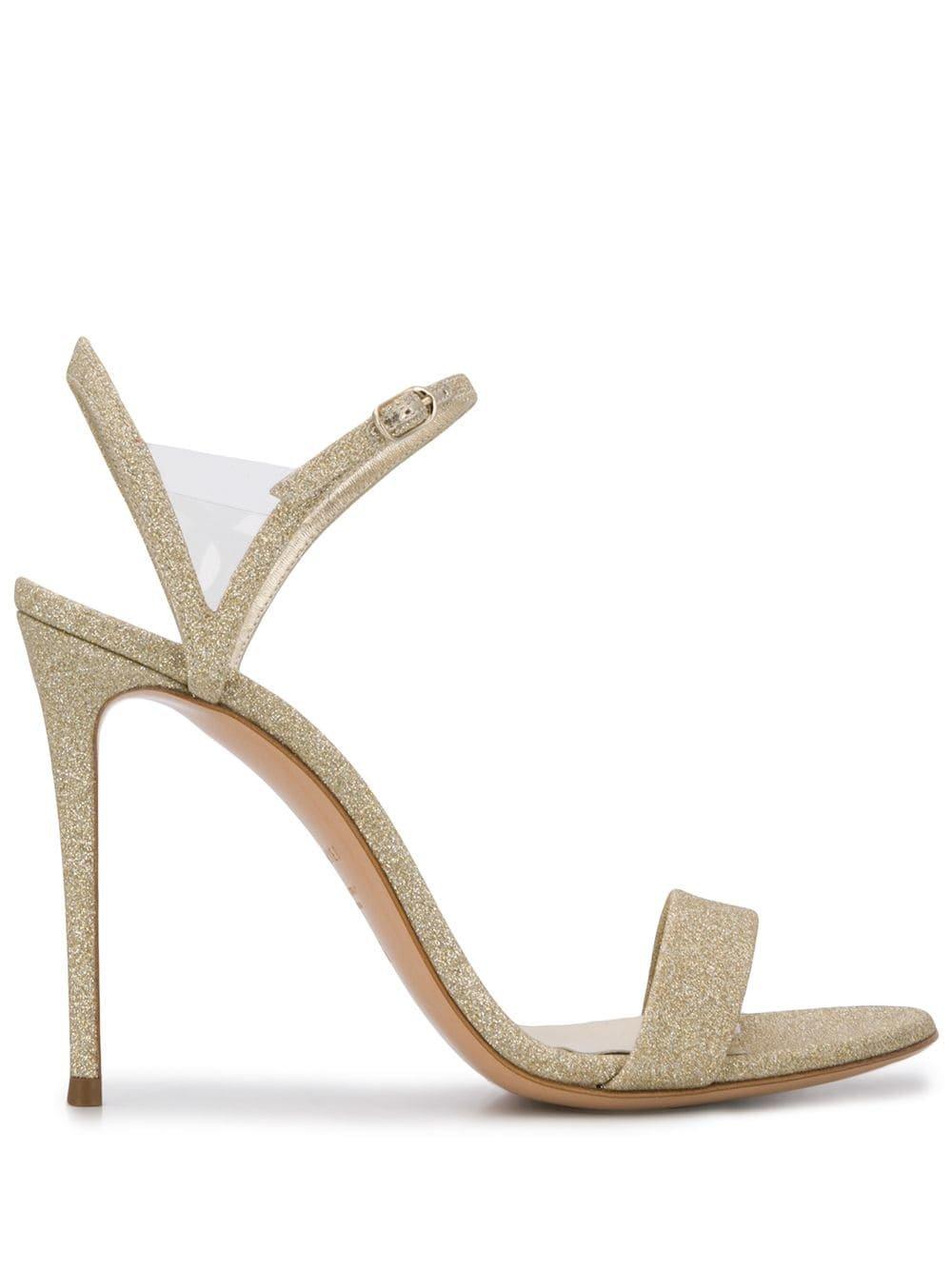 Gold Casadei Glittered 110mm Sandals | Farfetch.com