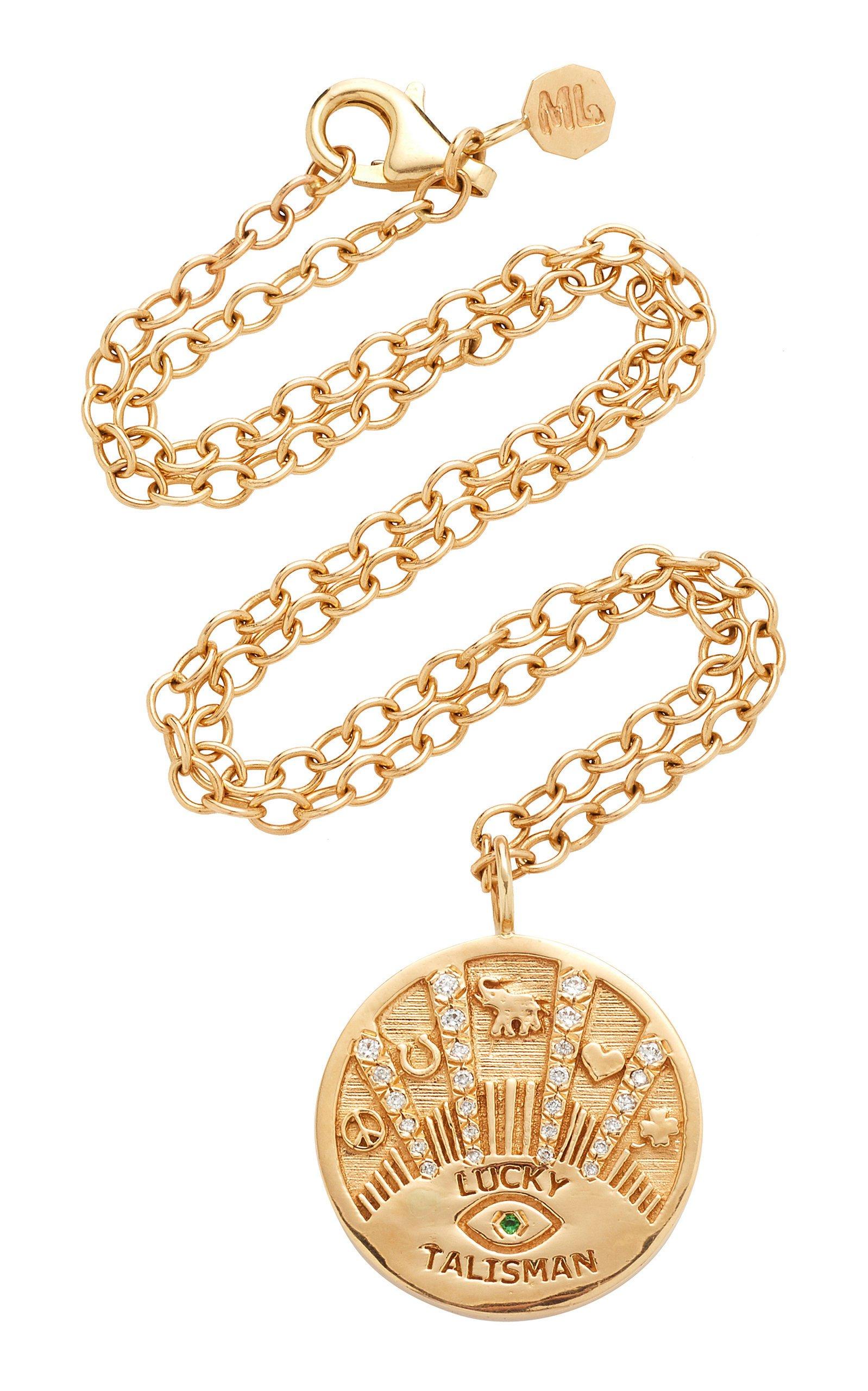 Marlo Laz Talisman 14K Gold Diamond Necklace