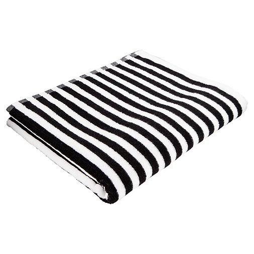 Tesco Black & White Stripe Bath Towel