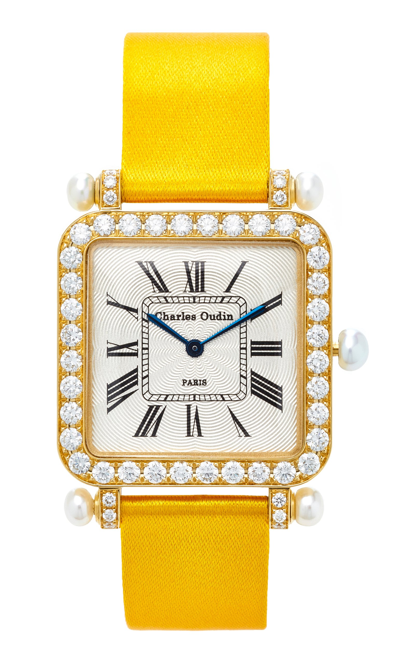 18K Yellow Gold Diamond and Pearl Large Pansy Retro Watch by Charles Oudin | Moda Operandi