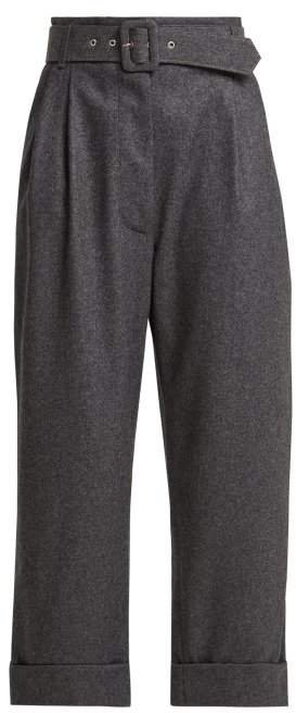 Belted Cropped Wool Trousers - Womens - Dark Grey