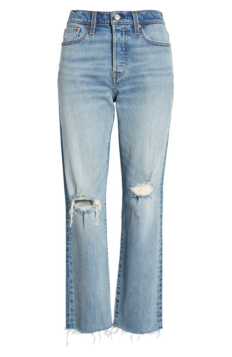 Levi's® Wedgie High Waist Ripped Crop Straight Leg Jeans (In Two Minds) | Nordstrom