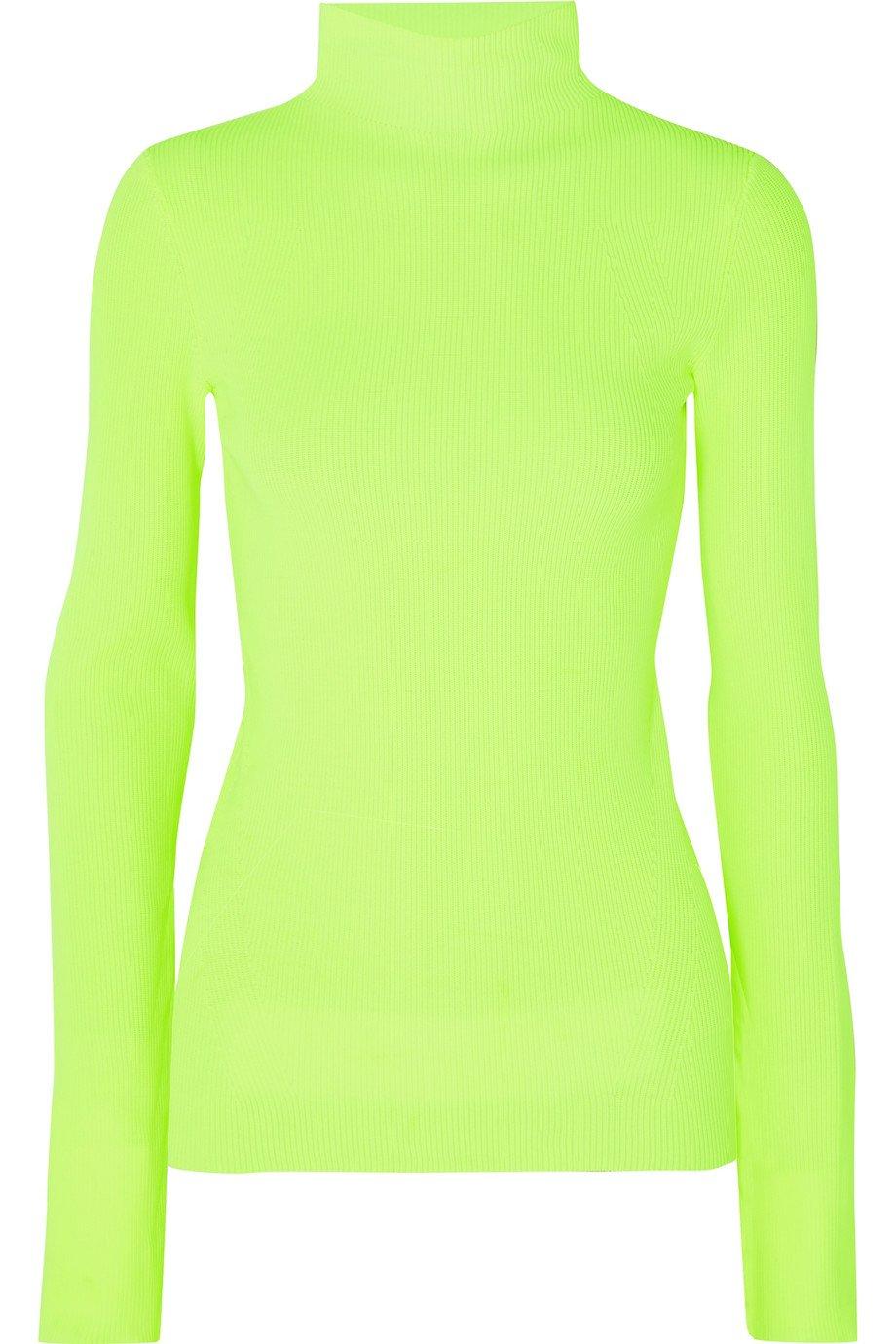 Helmut Lang   Neon ribbed cotton turtleneck sweater   NET-A-PORTER.COM