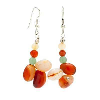 Multi Colored Agate Gemstone Earrings   Mystic Self LLC