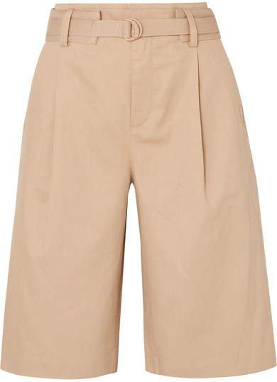 Belted Cotton-blend Twill Shorts - Beige