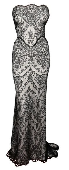 strapless silver gown with black detailing and a fish tail finish - Gucci