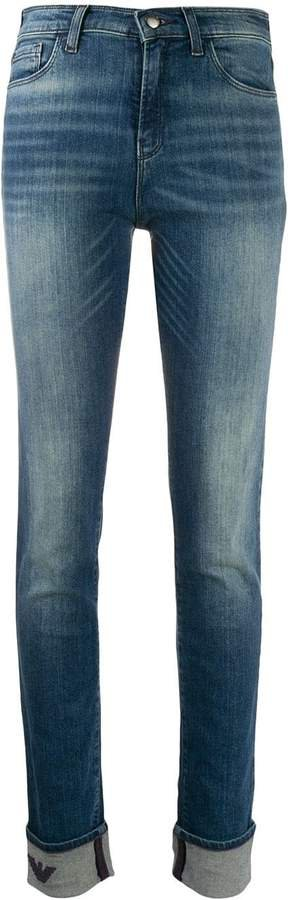 embroidered eagle skinny jeans