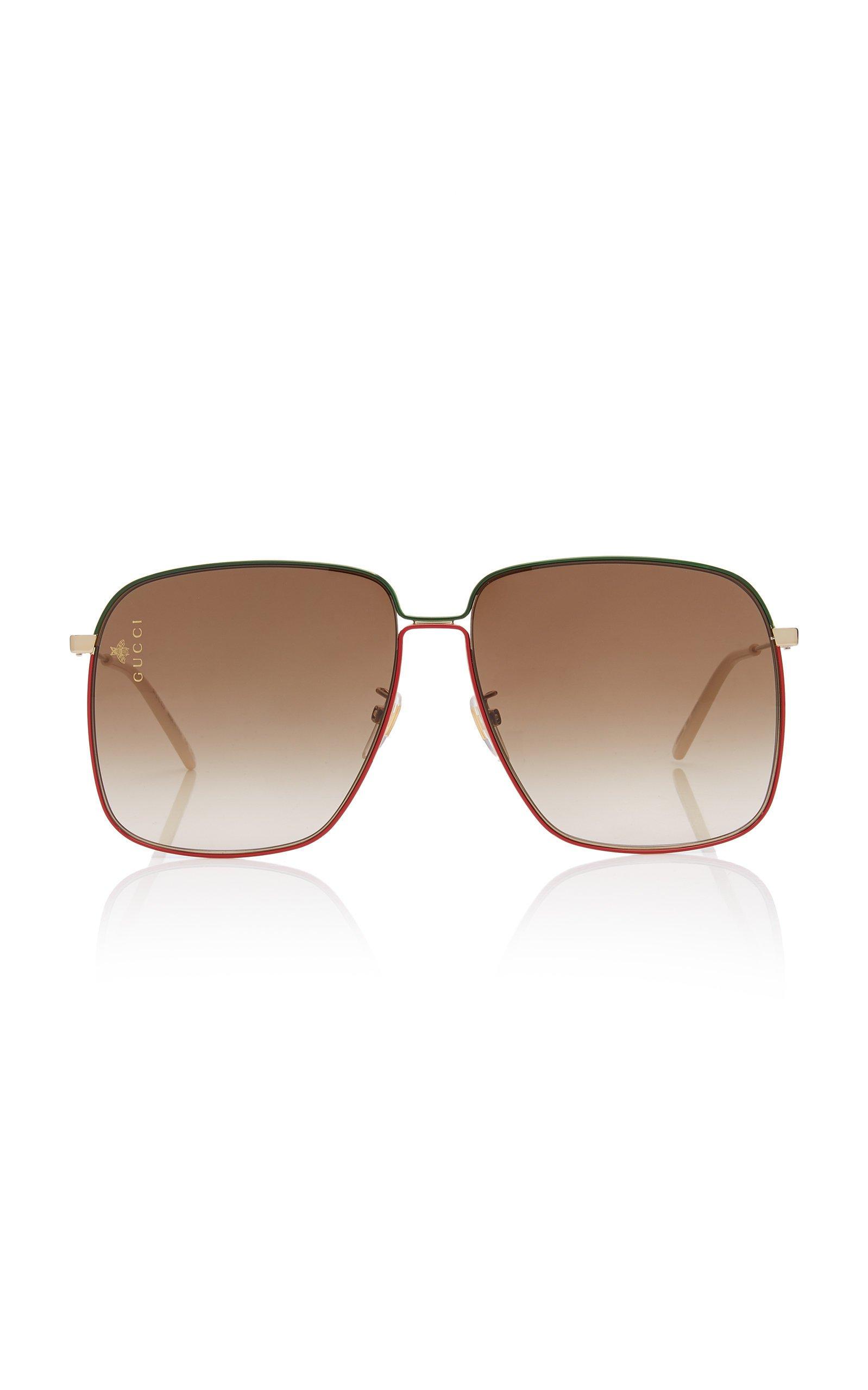 Gucci Glasant Oversized Metal Square-Frame Sunglasses