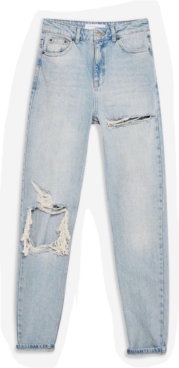 TOPSHOP bleach rip mom jeans