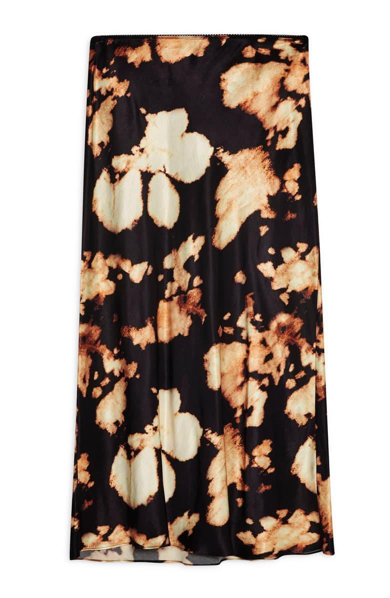 Topshop Tie Dye Bias Midi Skirt black